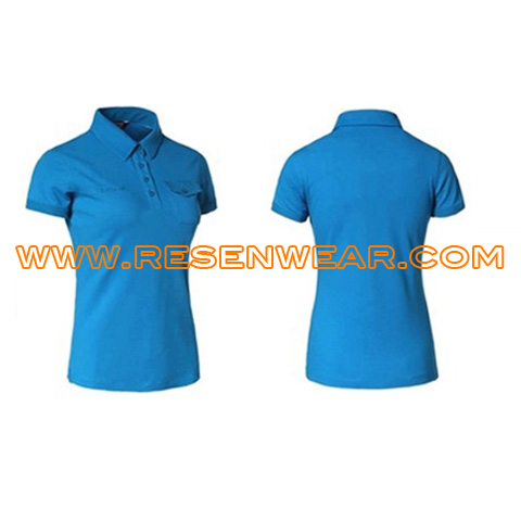 Womens polo shirts with pockets plain color cotton embroider polo shirts RSPLW-0032 front&back