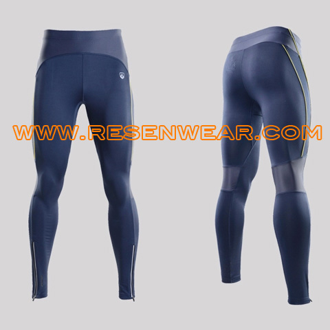 Spandex running tights sports leggings mens compression wear RSRP-0017 blue