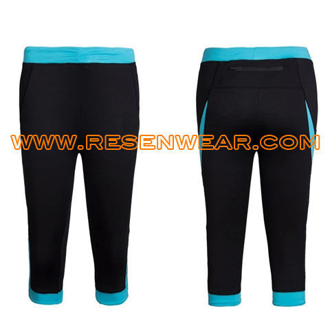 High waisted compression running pants for ladies gym tights RSRPW-0032 blue