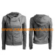 Womens sweater hoodie with zipper cotton sweater coat RSSWW-0052 grey